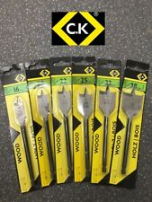 CK Tools T2942P - Professional Quality Flat Wood Bit Set of 6 - 16mm to 38mm