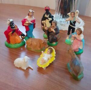 Vintage 50/60's?  Nativity Scene 10 Hollow Rigid Plastic Mary Joseph Jesus