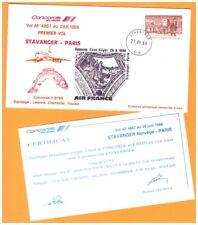NORVEGE / 1° VOL Air France AVION CONCORDE Ligne STAVANGER-PARIS le 28.06.1988