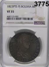 BOLIVIA 1823 PTS PJ 8 REALES  NGC CERTIFIED VF 35 PROBLEM FREE! #3775