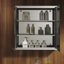 Bath Wall Mount Mirror Cabinet 2 Doors 3 Shelves Stainless Steel Silver