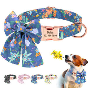 Personalized Dog Collar with Flower for Medium&Puppy Dog Safety Metal Buckle