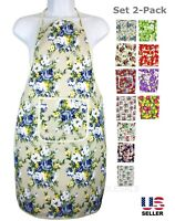 Lot 2 Pack Aprons Pockets Kitchen Restaurant Home Chef Cooking Bid Waterproof