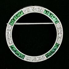 Vintage Platinum 1.75ctw Diamond & Calibre Step Cut Emerald Circle Wreath Brooch