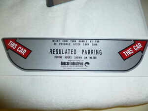 Duncan Parking Meter Decal / Sticker For The Duncan 70/76 Double