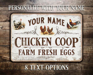 Chicken Coop Personalized Vintage Metal Sign With 8 Text Options