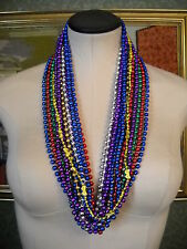 Mardi Gras Round Throw Beads, Rich Multi-Color 16 Lot Party Favors