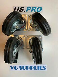 US PRO/VEWERK 4 x 125mm Rubber Swivel Castor Wheels Trolley Caster Brake NEW