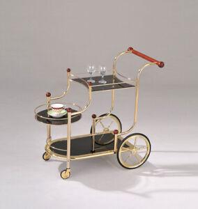 Serving Cart, Golden Plated & Black Glass - Metal, Glass, Rubber Wood Golden ...