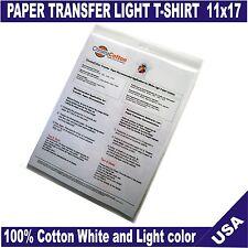 25 Sheets ChromaCotton Transfer Paper 11x17 for White Light  T-shirt 100%Cotton