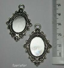 2 silver setting oval pendant frames trays 18 x 13 mm cabochons make jewellery
