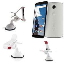 Supporto auto universale ventosa parabrezza pinze per Motorola Nexus 6 Bianco