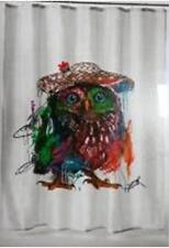 Multi Coloured Owl Bird Abstract Bathroom Shower Curtain 180cm X 200cm Hooks
