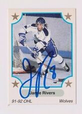 91/92 Jamie Rivers Sudbury Wolves Autographed OHL Hockey Card