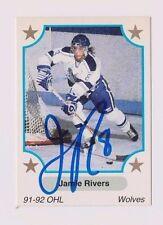 91/92 Jamie Rivers Sudbury Wolves Autographed OHL Hockey Card
