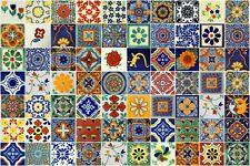 90 PCS TALAVERA HANDMADE MEXICAN TILES 4X4 ASSORTED DESIGNS
