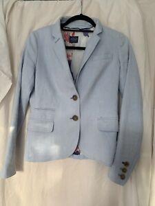 Joules Smart Blazer Jacket Size 8, VGC, Floral Lining, Baby Blue, Linen Mix