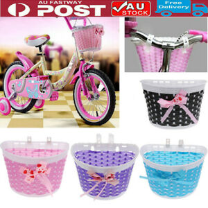 AU Kids Gift Girls Boys Bicycle Bike Detachable Knitted Front Basket w/ Bow Knot