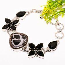 "Mudcrack Fossil, Black Onyx Silver Fashion Jewelry Bracelet 7-8"" SB2602"