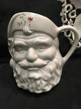 "Pfaltzgraff Santa Pitcher Winterberry Holly White 6"" Pitcher Vase Christmas"