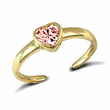 9ct Gold Pink Stone Set Heart Toe Ring - Boxed