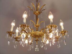 "BRASS CRYSTAL CHANDELIER  VINTAGE LAMP CLASSIC 12 LIGHT   Ø 28"""