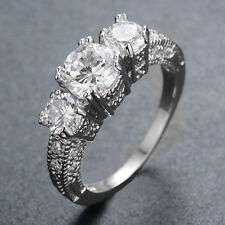 White Sapphire Engagement Rings Zircon Women's Silver Plated Jewellery Size 6-12
