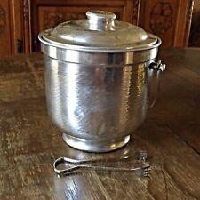 Vintage Hammered Aluminum Ice Bucket Nasco Made in Italy Ice Tongs Mid Century