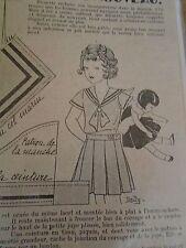 """PATRON ORIGINAL POUR LA POUPEE """" BLEUETTE ENSEMBLE MARIN  MARS  1935"""
