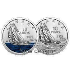 🇨🇦 Special Canada 10 cents new design Bluenose Coin Set, Color + Nocolor, 2021
