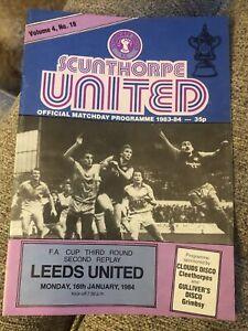 Scunthorpe United V Leeds United 16/1/84 1984 Match Programme FA Cup