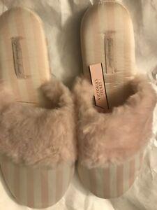 Victoria Secret Signature Satin Slippers Pink White Stripes M 7 8 fur cozy gift