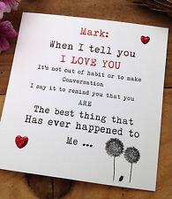 "Handmade Personalised ""Words of Love"" Birthday, Anniversary or Valentine Card"