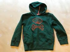 Boys MINI BODEN Green Orange Hoodie SWEATSHIRT Hood Skull Sz 5 6 EUC
