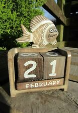 Fair Trade Hand Carved Made Wooden Fish Perpetual Desk Office Calendar