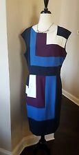 NWT Ann Taylor Women's Navy Short Sleeve Career Dress Size 14 $64.99