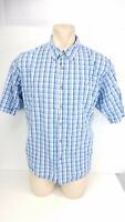 Wrangler Shirt Short Sleeve Button Front Blue Plaid Top Mens Size 3XL XXXL