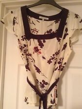 Laura Ashley 100%Silk Top Floral Purple design on ivory (size 14)