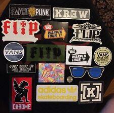 15 Skateboard Sticker Lot Flip Vans Adidas Chrome Krew Glassy Warped Tour