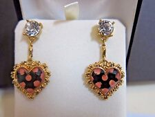 BETSEY JOHNSON Pink Polka Dot Heart Drop Earrings~ Rhinestone~Dangle~Never Worn