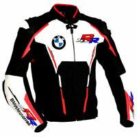 Chaqueta de moto de cuero BMW para hombre con armadura Protectora Rojo