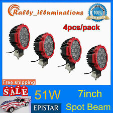 4X7INCH 51W EPISTAR LED light DRIVING JEEP 4X4 SPOT BEAM offroad TRUCK ROUND RED