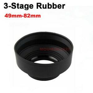 49mm-82mm 3 Stage Collapsible Rubber Lens Hood Sun Shade For Canon Nikon Camera