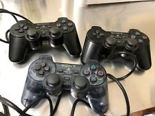 lot of 3 sony playstation joysticks remote with wires parts pieces only #8