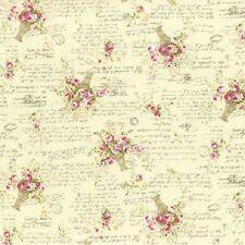 coupon de tissu patchwork shabby petits paniers de rose fond crème 45x55cm