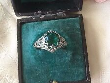 Antique Art Deco Vintage Sterling Silver Ring with Emerald Stone ring size T