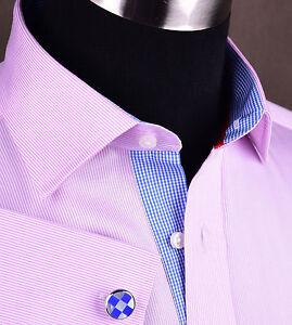 Hot Pink Mini Thin Stripe Mens Dress Shirt Luxury Formal Boss Business Fashion $