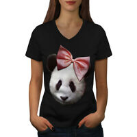 Wellcoda Panda Ribbon Cute Womens V-Neck T-shirt, Cuteness Graphic Design Tee