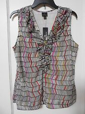 NWT Women's WORTHINGTON Black White Geometric Blouse Size Large - MSRP $30