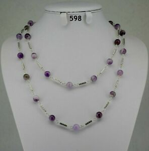 Long amethyst 8mm purple natural stone bead necklace, silver spacers, chain 42""